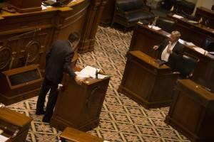 Senator Hugh Leatherman addresses Senator Tom Davis